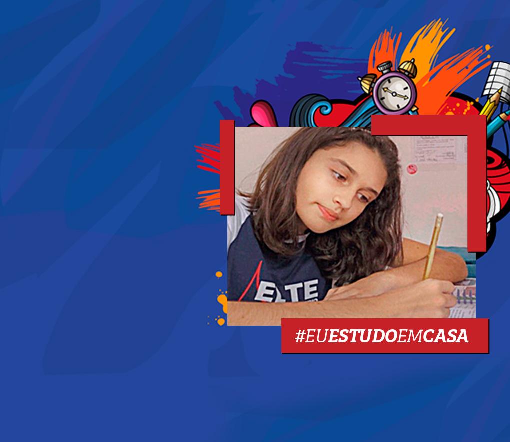 """fundo azul com imagem de aluna estudando e hashtag """"Eu Estudo Em Casa"""""""